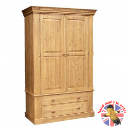 Cottage Pine Double Wardrobe on Drawers