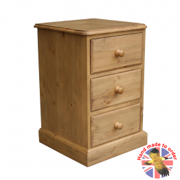 Cottage Pine 3 Drawer Bedside Cabinet