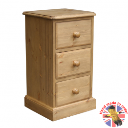 Cottage Pine 3 Drawer Small Bedside Cabinet