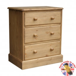 "Cottage Pine  24"" 3 Drawer Bedside Cabinet"