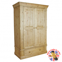 Cottage Pine Double Wardrobe on Drawer
