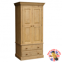 Cottage Pine wardrobe on 2 Drawers