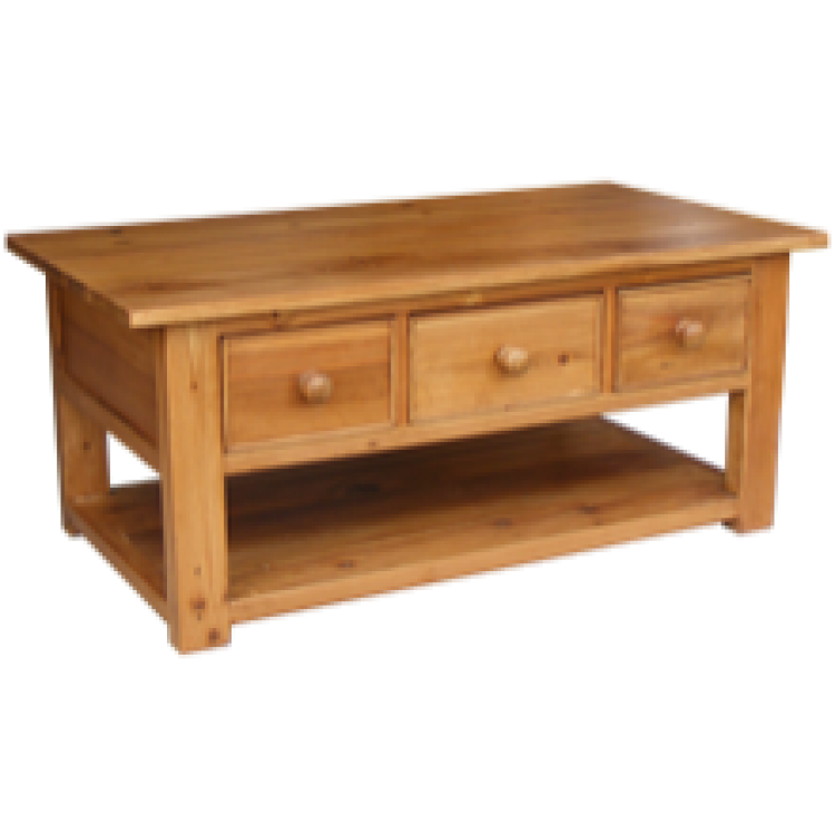 Rustic pine coffee table 3 drawer for Pine coffee table
