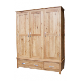 Avon Oak Triple Wardrobe on Drawers