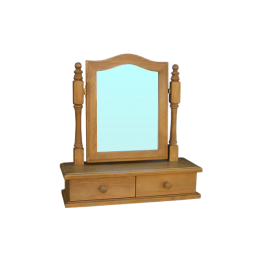 Pine Dressing Mirror on Drawer